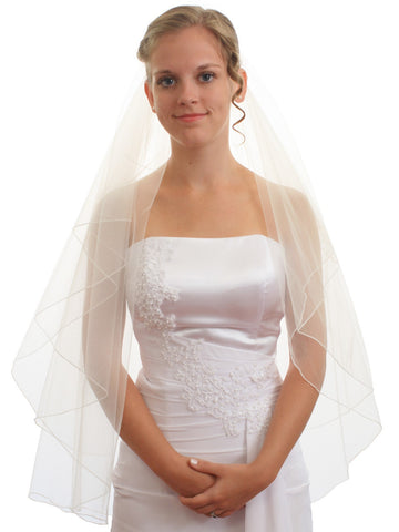 SparklyCrystal Women's Bridal Wedding Veil 2 T Pencil Edge Fingertip Length VE5B3