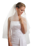 2T 2 Tier Pencil Edge Crystal Bridal Wedding Veil Ivory VE6B2