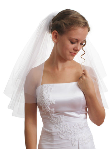 SparklyCrystal Women's Bridal Wedding Veil 2 T Cut Edge Shoulder Length VE8A1
