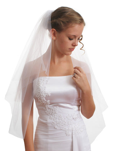 SparklyCrystal Women's Bridal Wedding Veil 2 T Cut Edge Elbow Length VE8A2