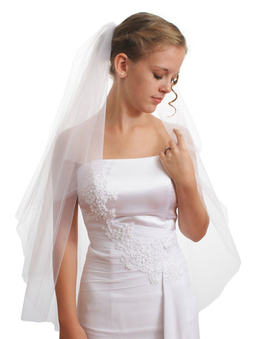 SparklyCrystal Women's Bridal Wedding Veil 2 T Cut Edge Fingertip Length VE8A3