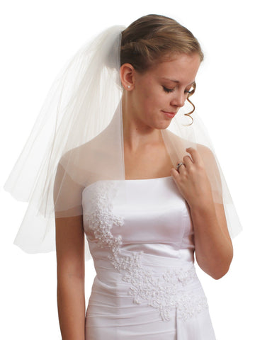 SparklyCrystal Women's Bridal Wedding Veil 2 T Cut Edge Shoulder Length VE8B1