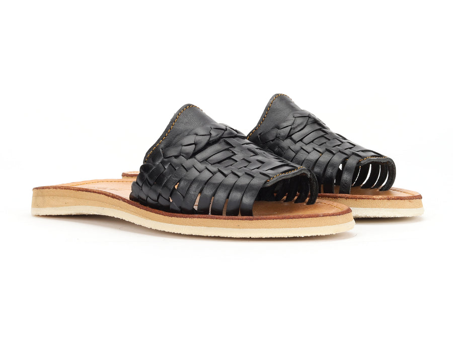 Huarache Peep-Toe Slides Black