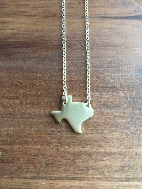 Texas State Necklace - Gold