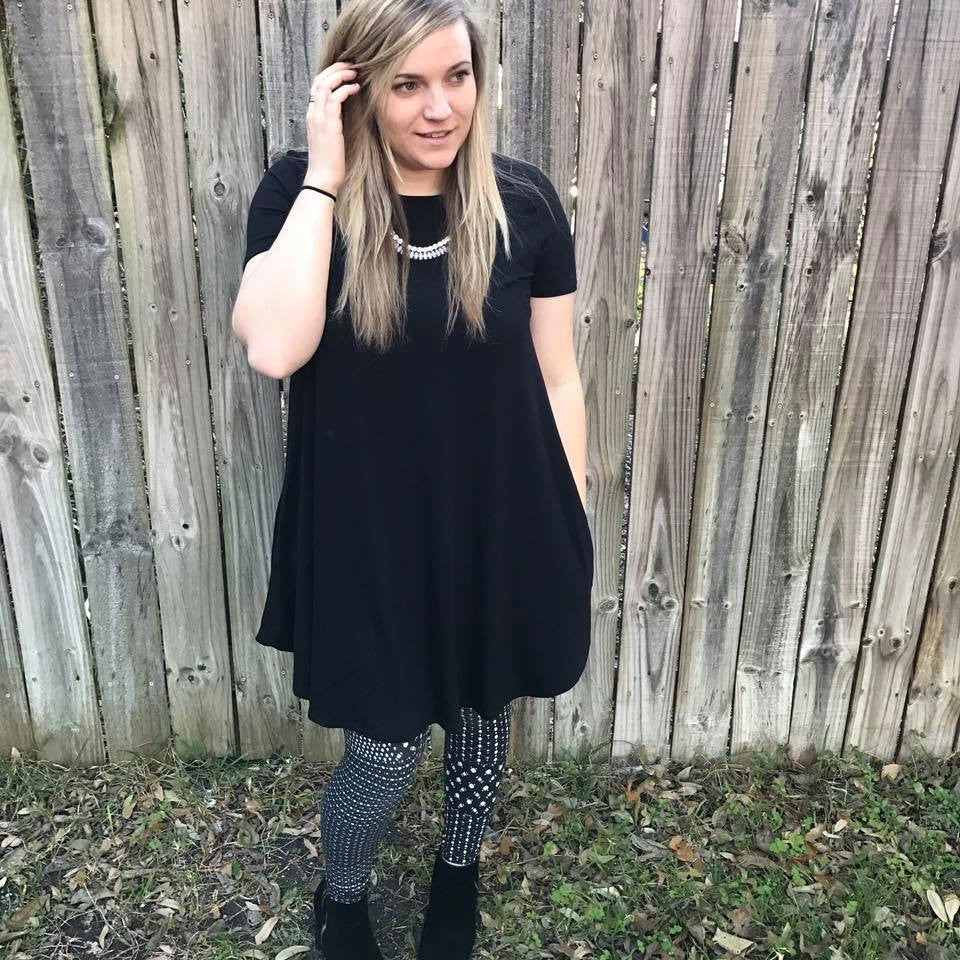 Short Sleeve Black Dress