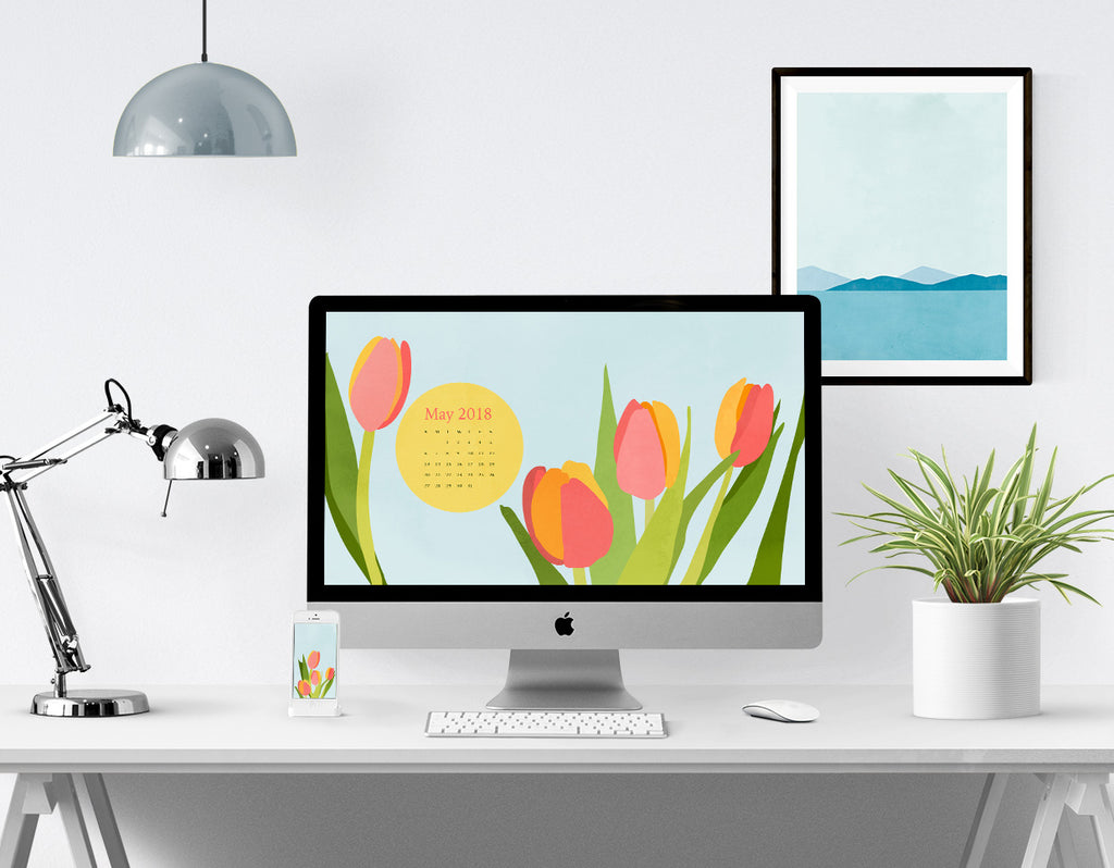 Desktop Calendar and Smartphone Background for May 2018