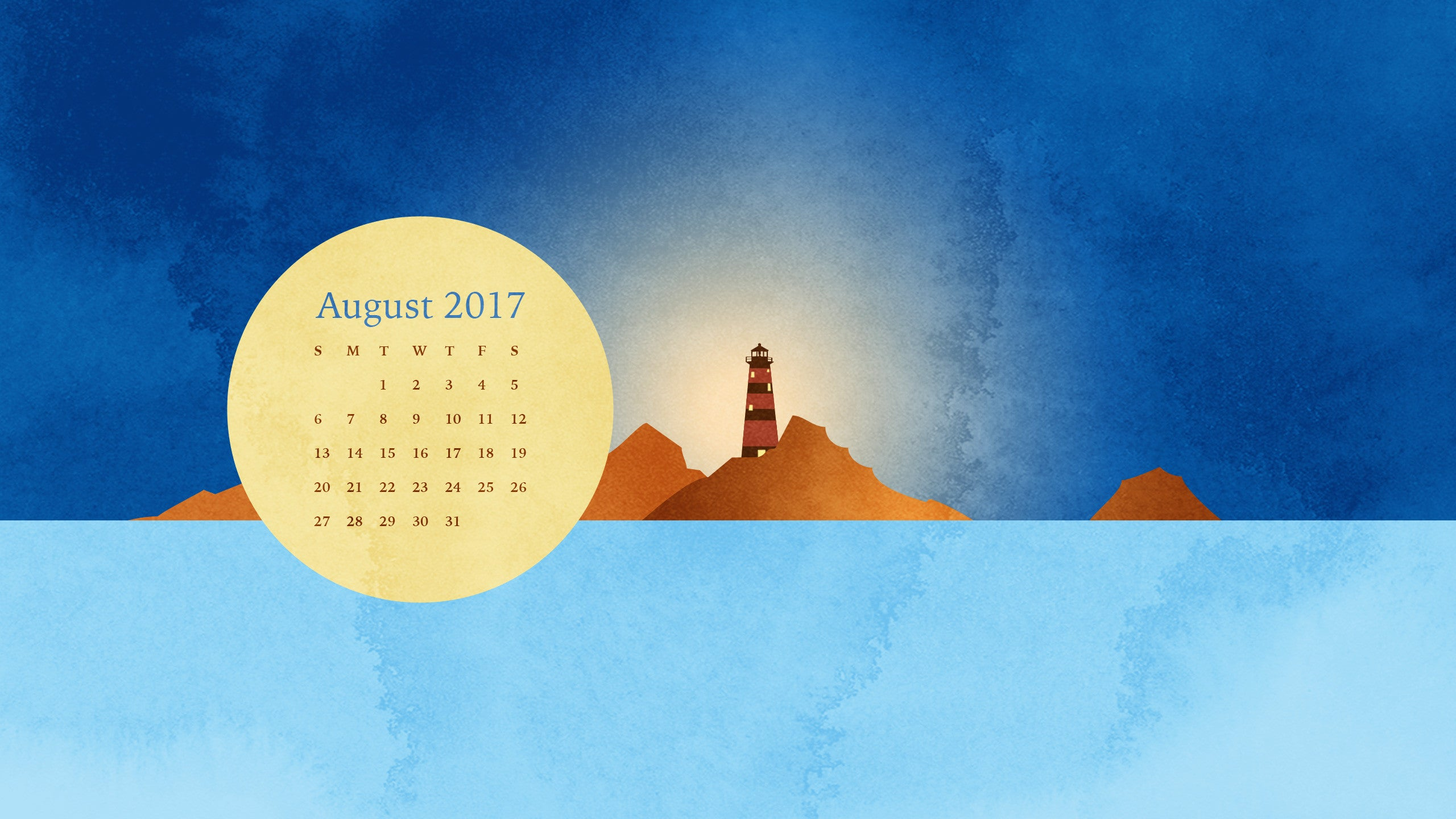 Calendar Wallpaper Maker : Free desktop calendar and smartphone background for august