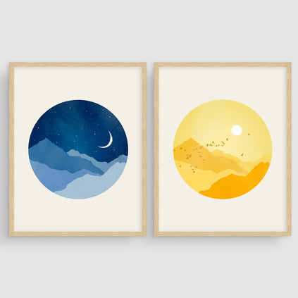 Sunny Day and Starry Night - Wall Art Set of 2