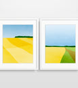 wall art set of abstract landscapes in yellow
