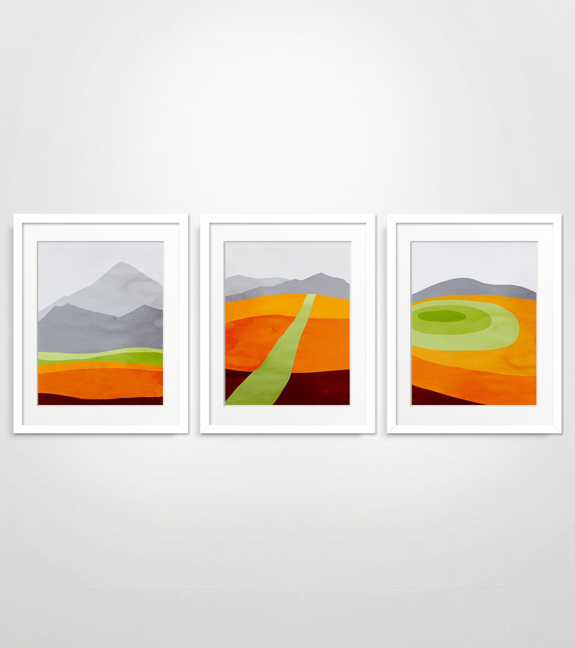 orange abstract wall art set by eve sand