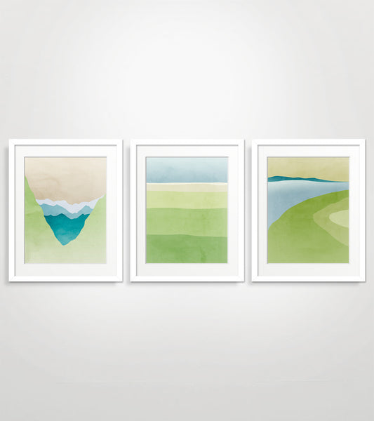 green wall art set of 3 by eve sand