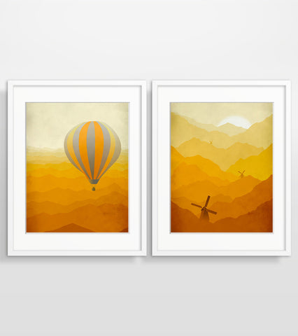 Hot Air Balloon and Windmills in Orange - Wall Art Set of 2