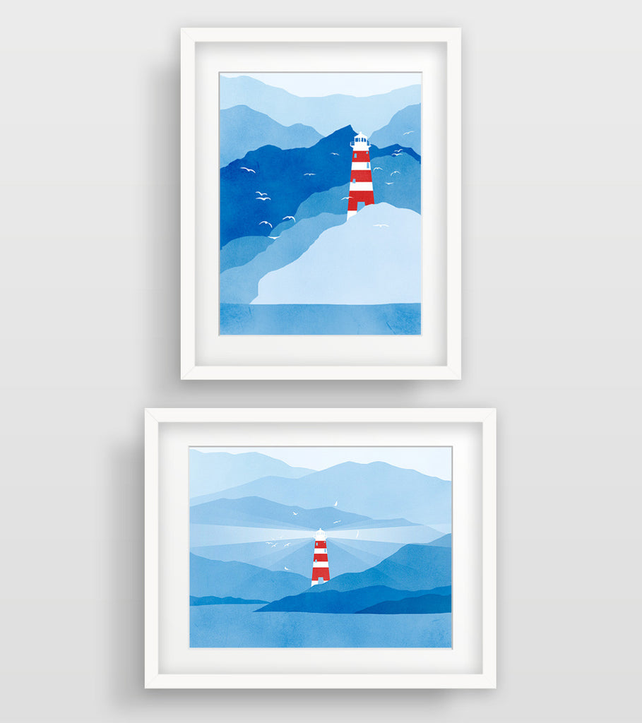 Lighthouse Nautical Decor in Blue and Red - Wall Art Set of 2