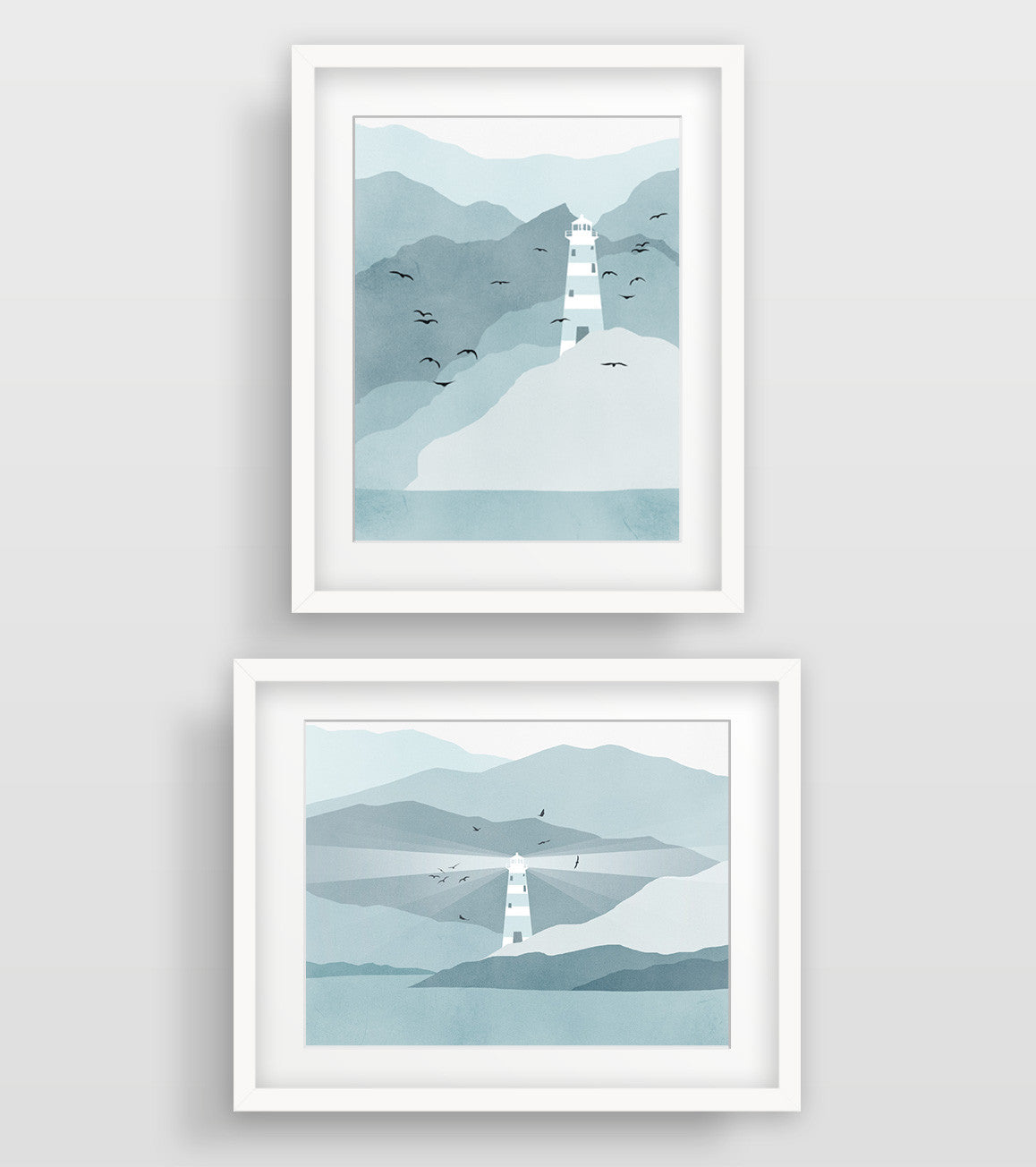 Lighthouse Nautical Decor in Teal and Grey - Wall Art Set of 2