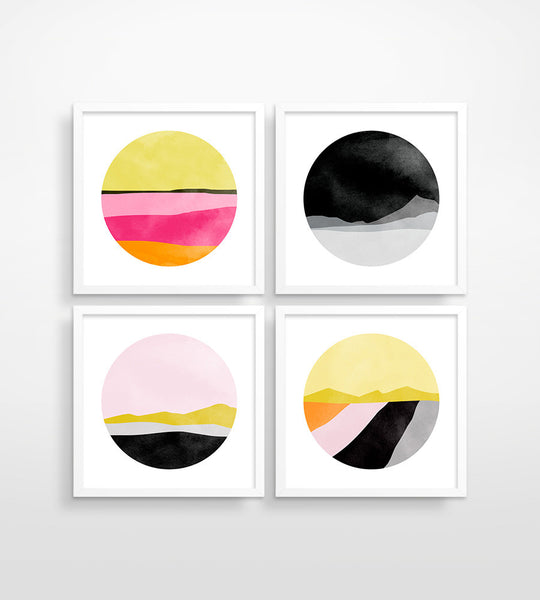 Pink and Black Abstract - Wall Art Set of 4