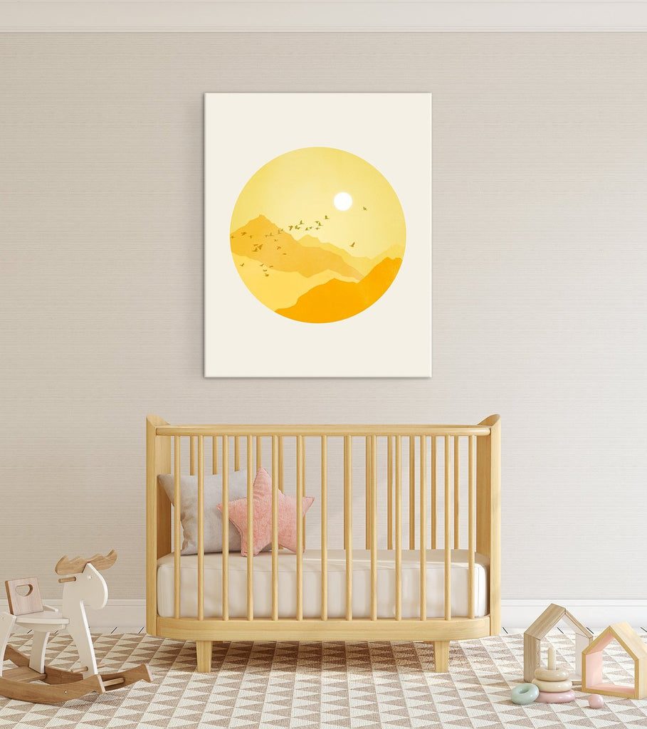 sunshine nursery canvas art above crib