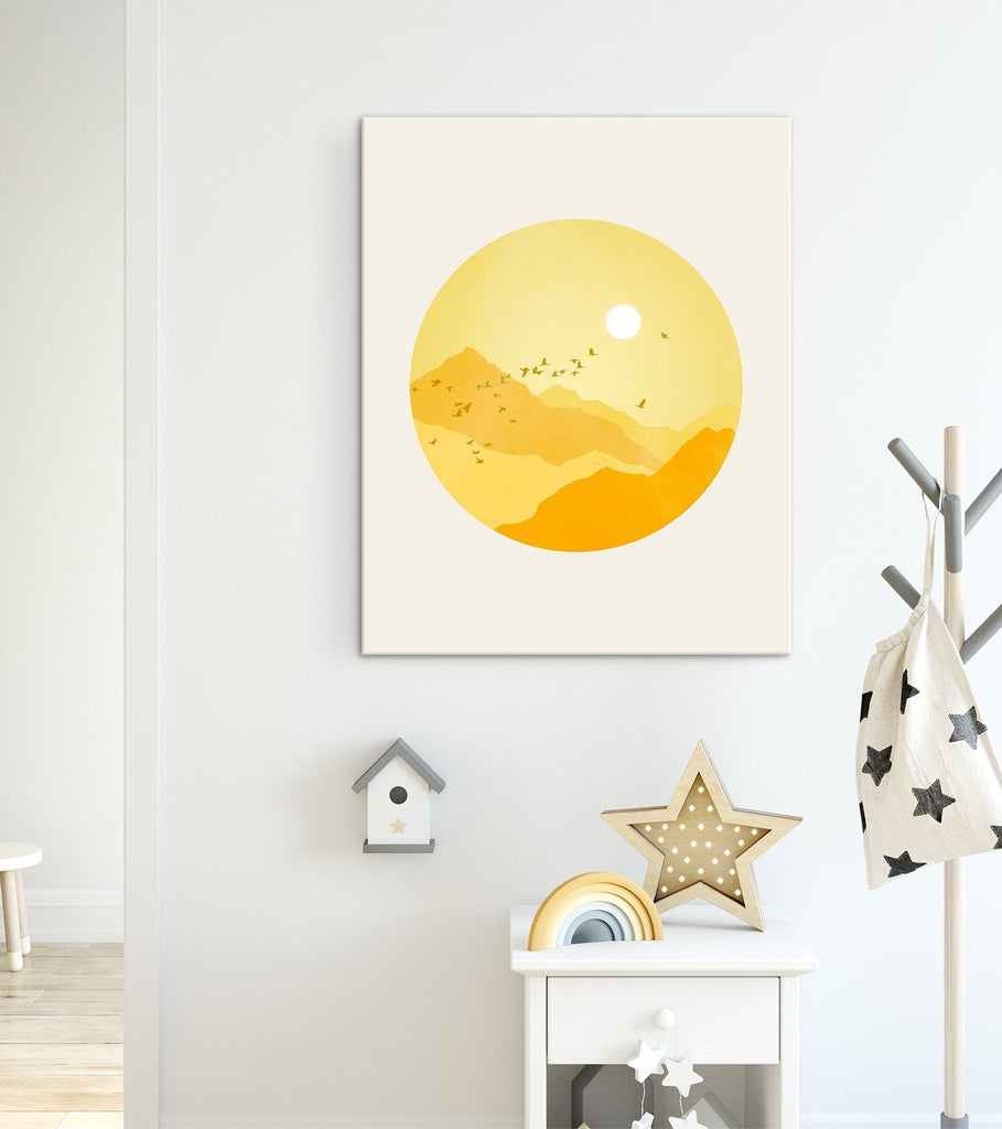 nursery decor wall art canvas sunshine mountains