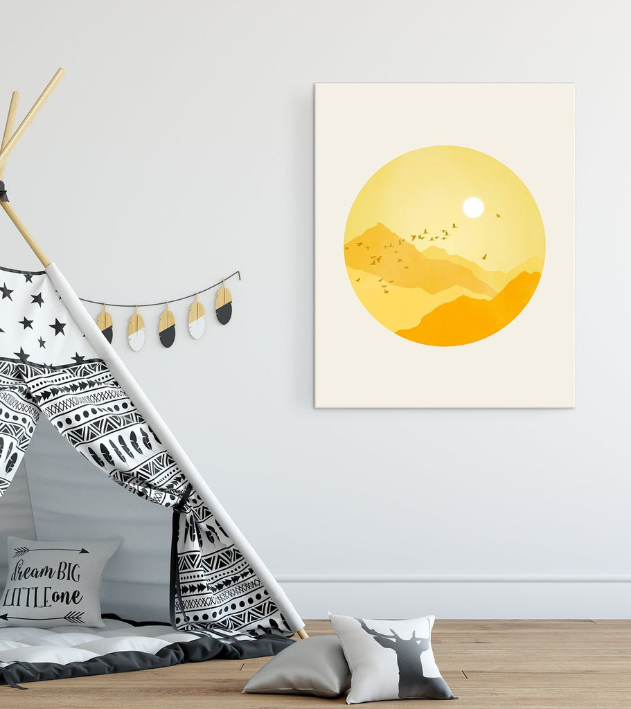 nursery canvas wall art sunshine mountains