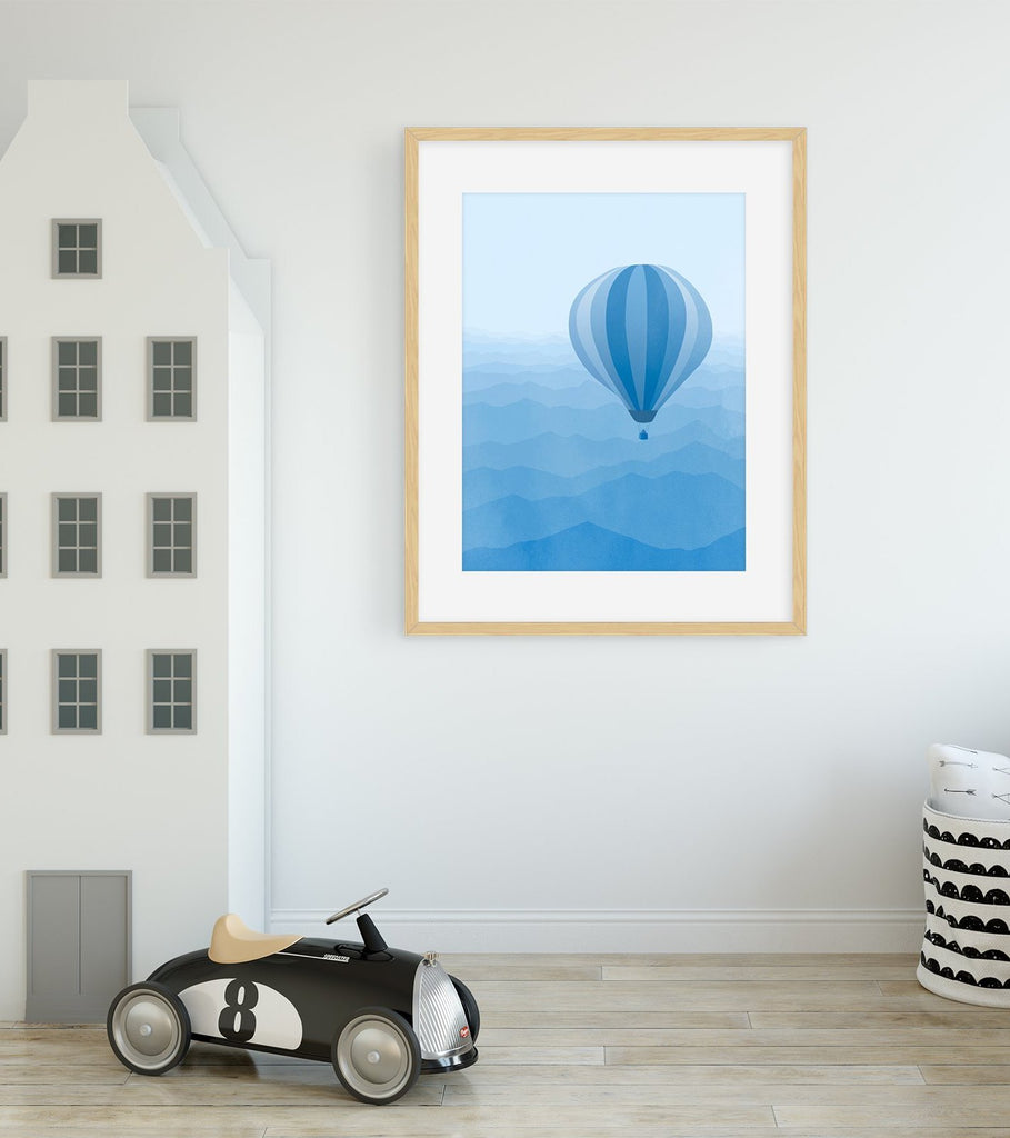 blue nursery wall art decor print for baby boy
