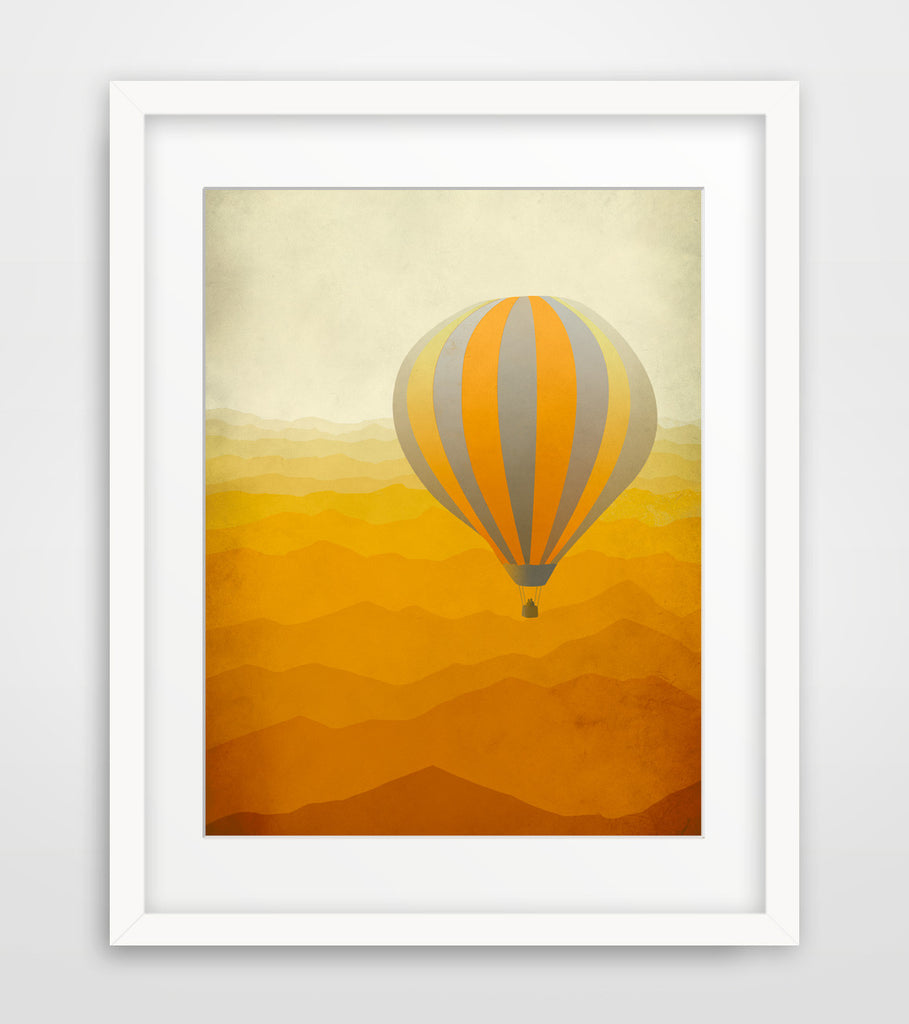 hot air balloon orange nursery wall art by eve sand