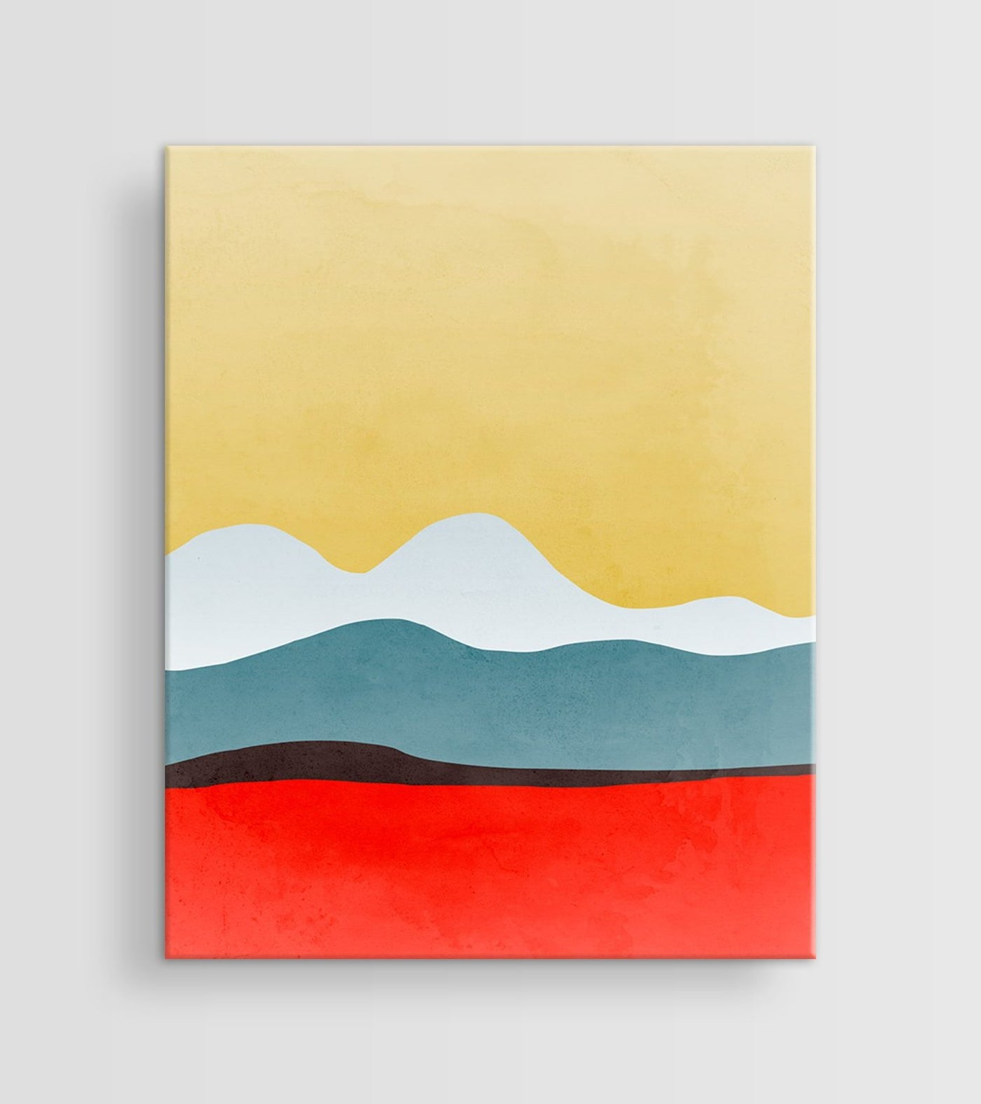 red abstract canvas art print by eve sand
