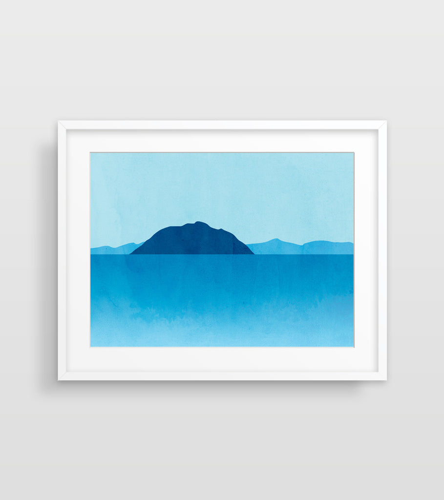 abstract seascape wall art in blue