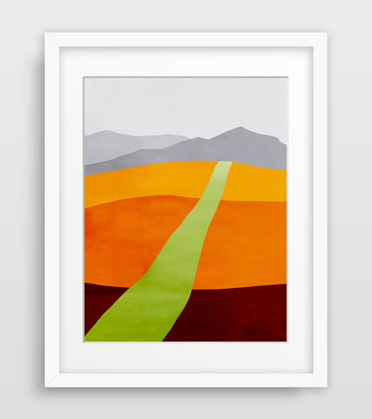 abstract landscape in orange and green