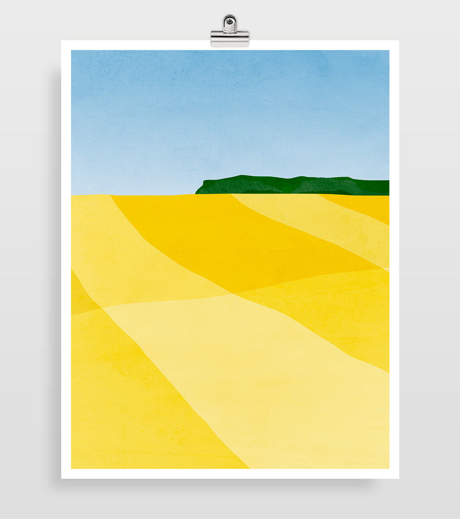 yellow abstract landscape wall art by eve sand