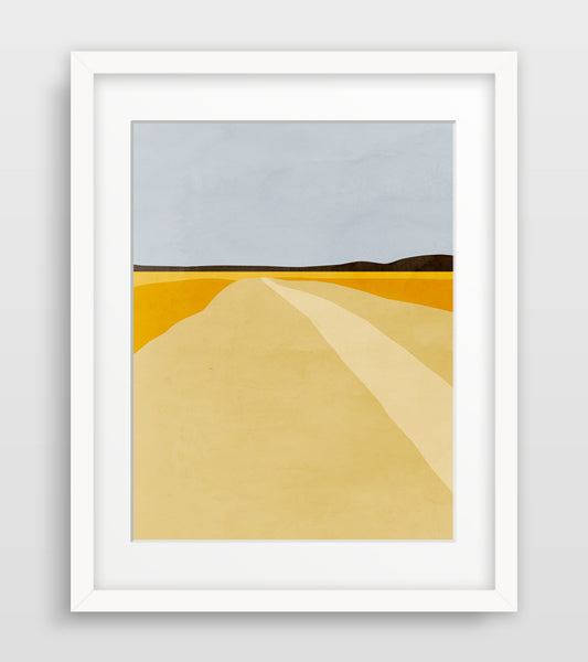 minimal abstract art of harvest field by eve sand