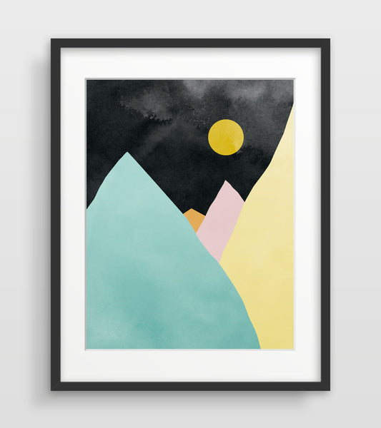 mid century modern mountain art print by eve sand