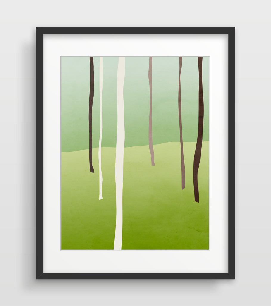 green abstract forest trees art print by eve sand