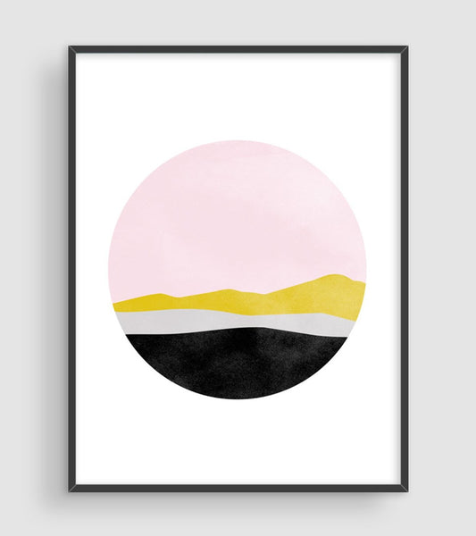 pink gold and black abstract wall art decor