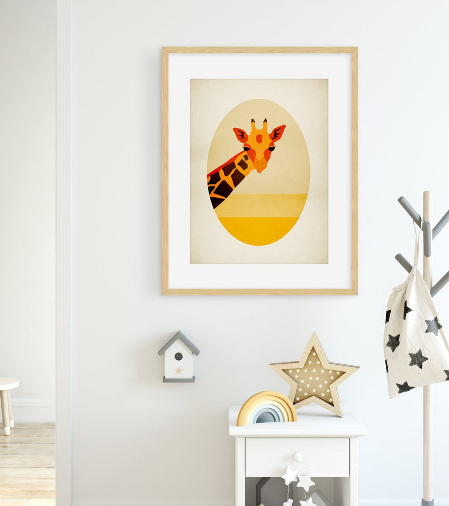 giraffe safari nursery art by eve sand