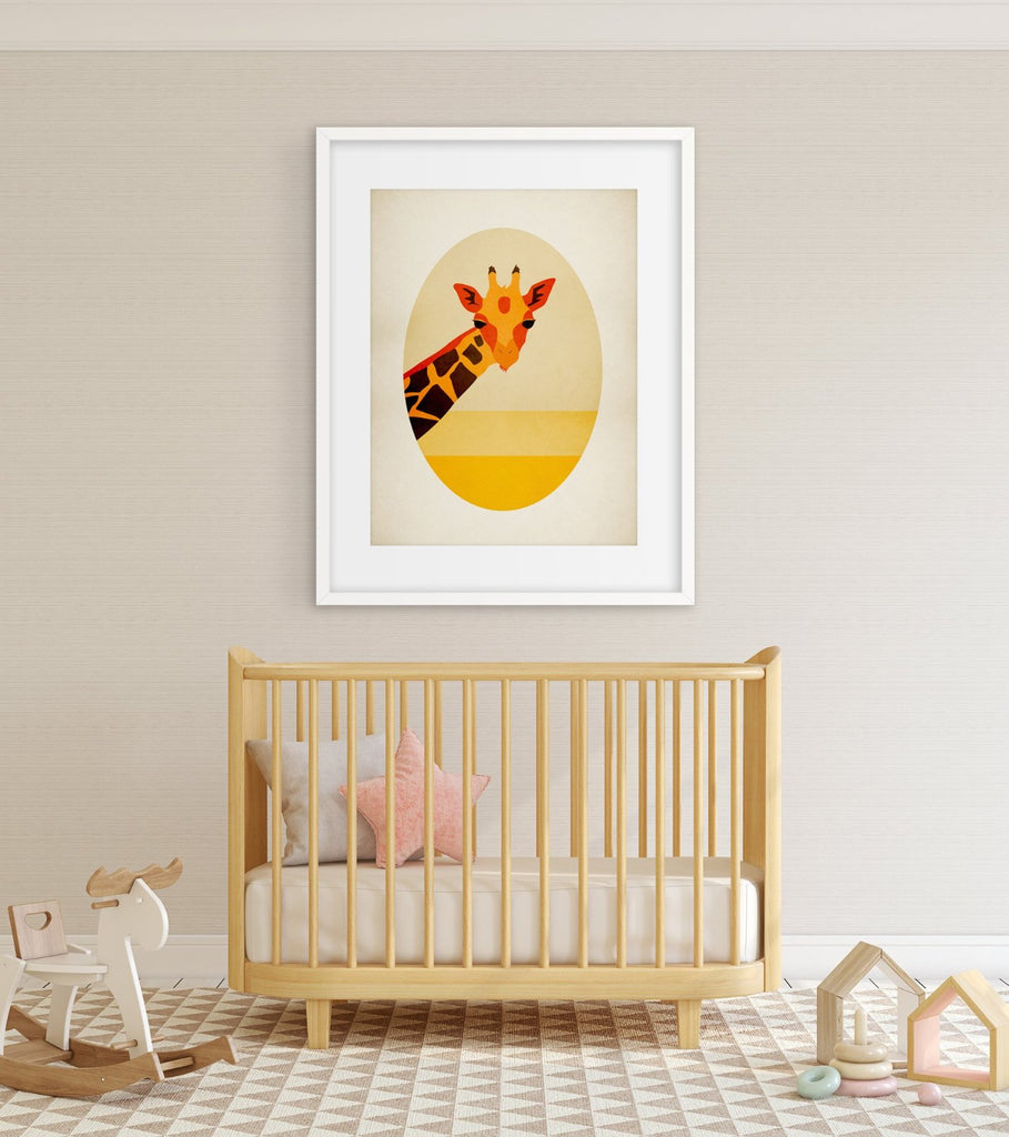 giraffe safari nursery wall art by eve sand