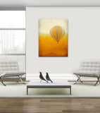 orange hot air balloon wall art by eve sand