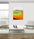 orange abstract wall art decor by eve sand