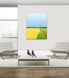 yellow and blue abstract canvas art by eve sand
