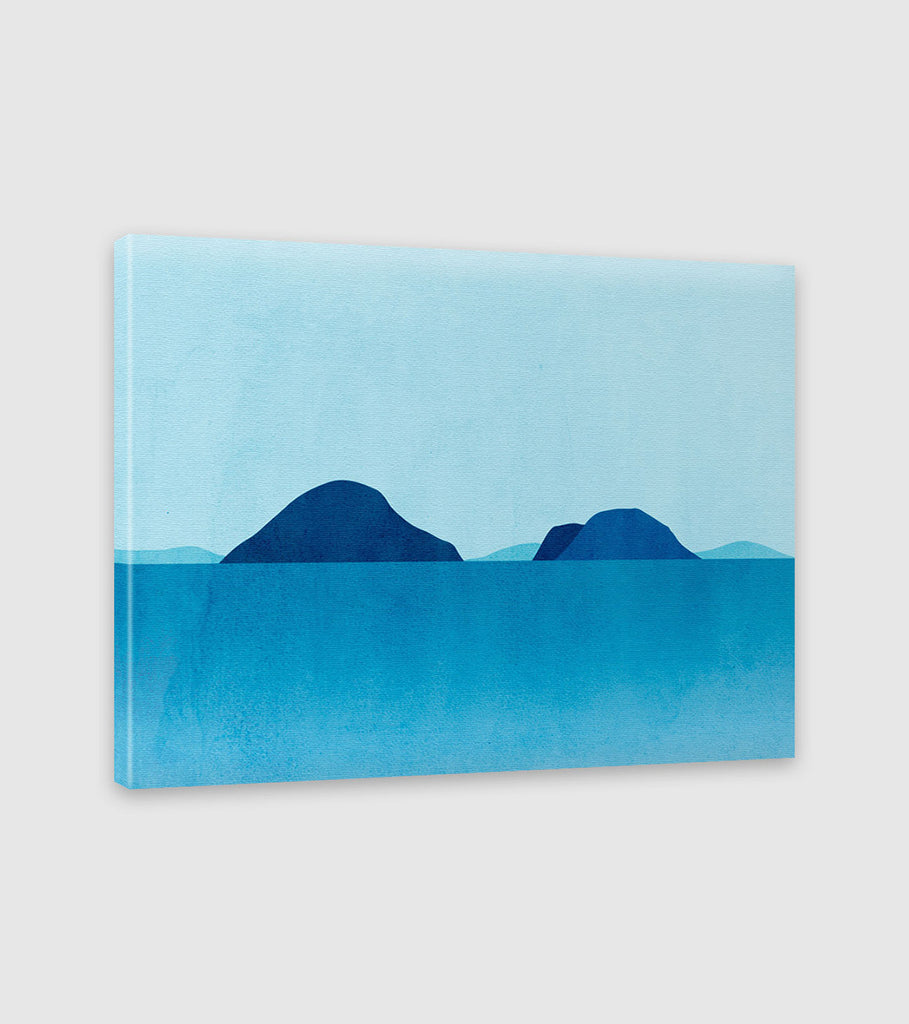 blue teal abstract seascape wall art by eve sand