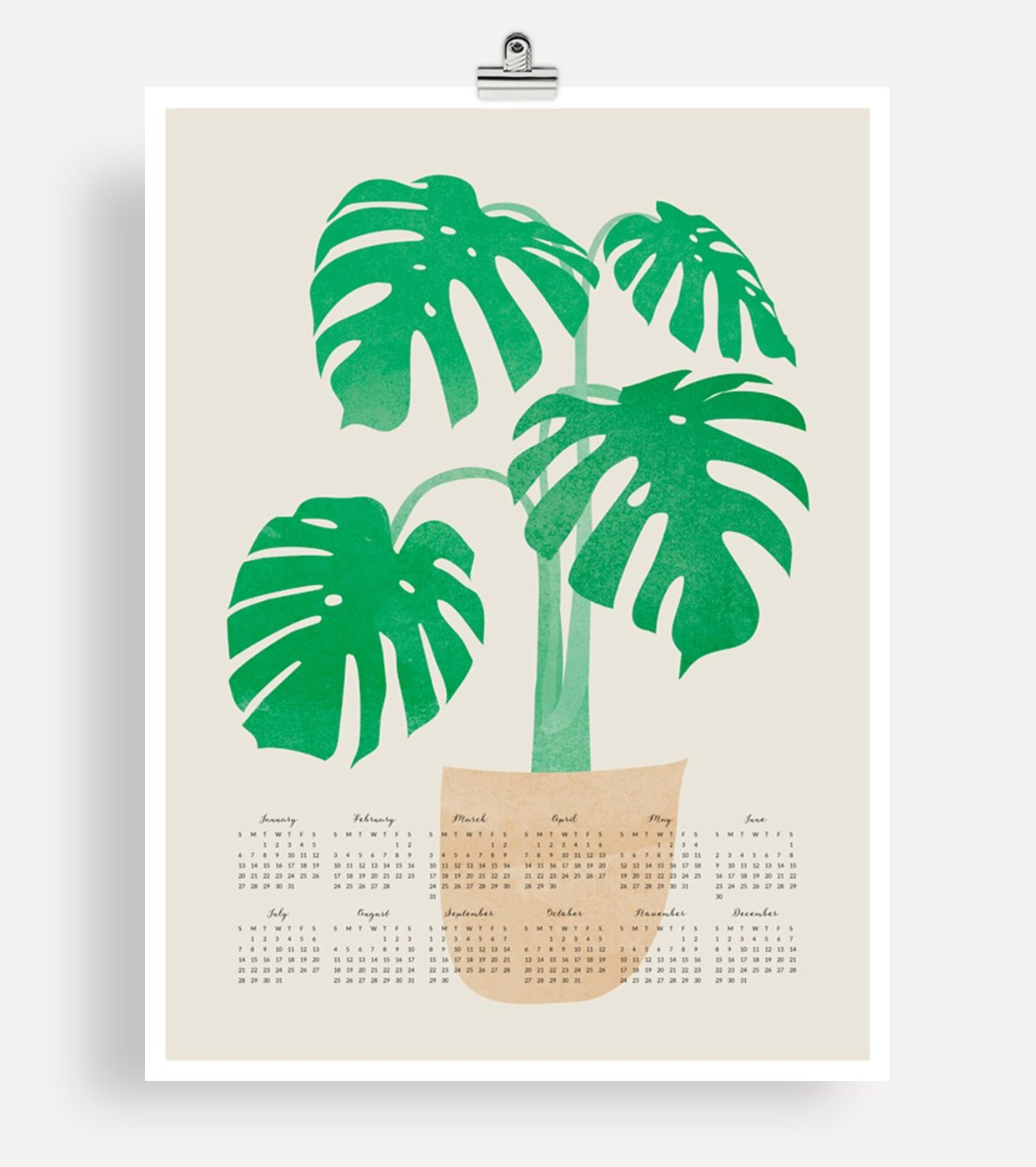 2019 Large Wall Calendar - Monstera