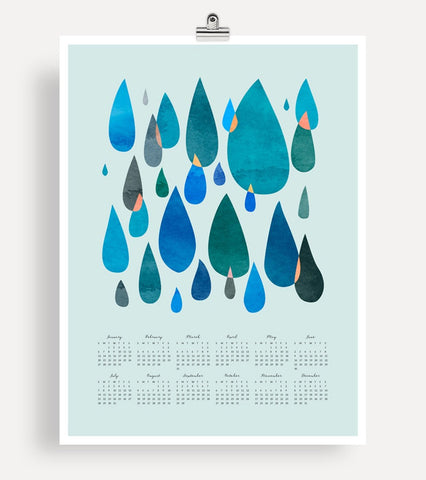 2019 Large Wall Calendar - Raindrops