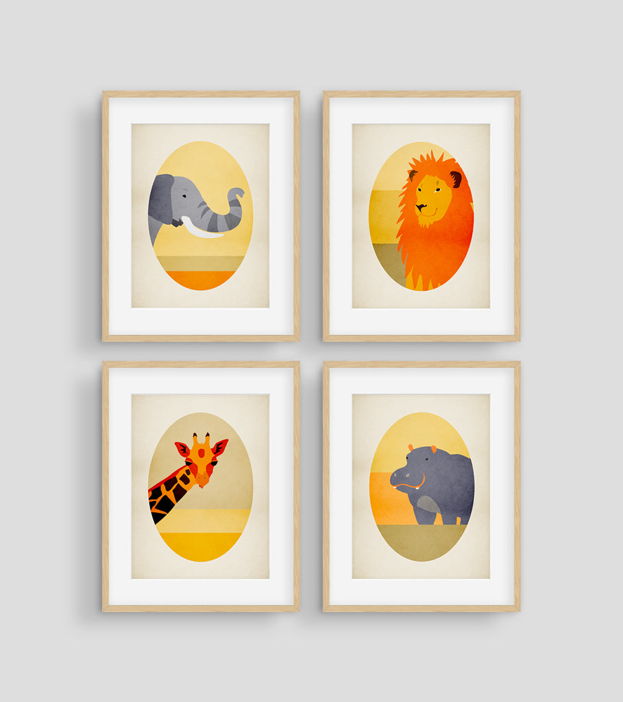 safari animals nursery wall decor set of 4 prints