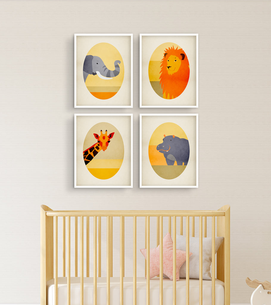 safari nursery wall art prints 4 pieces