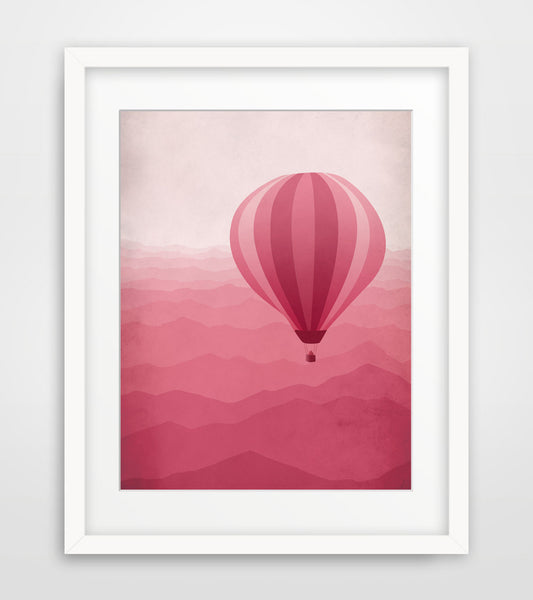pink nursery decor hot air ballon by eve sand