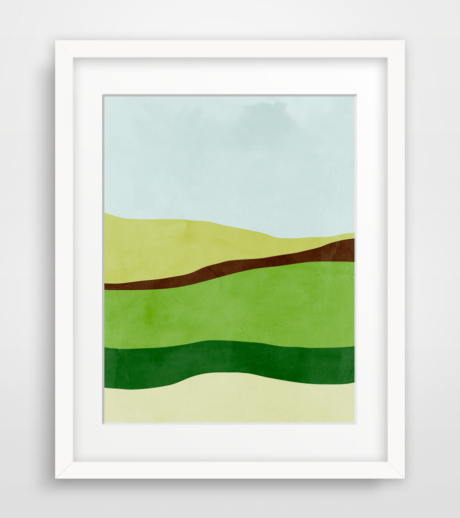green abstract landscape wall art by eve sand