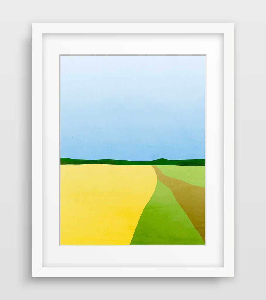 abstract landscape wall art in yellow