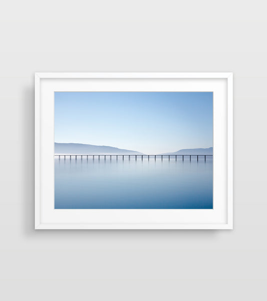 ocean photography wall art of a pier
