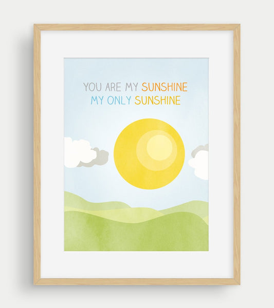 you are my sunshine wall art print for nursery