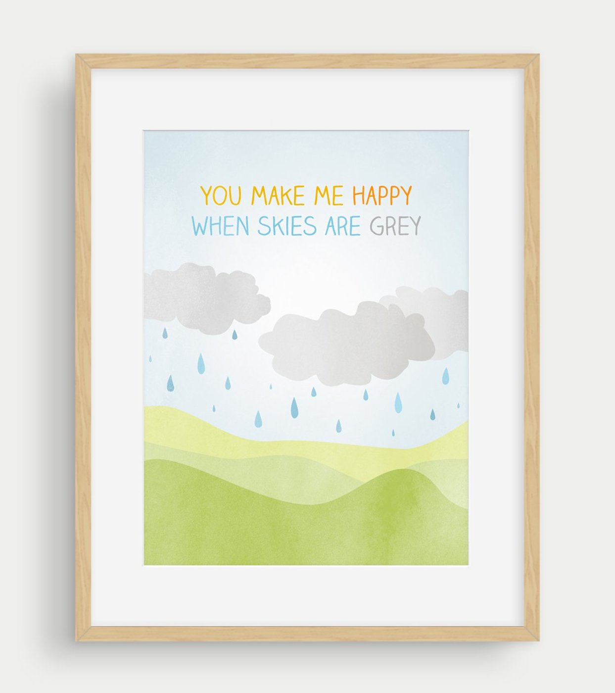 you make me happy nursery decor wall art print