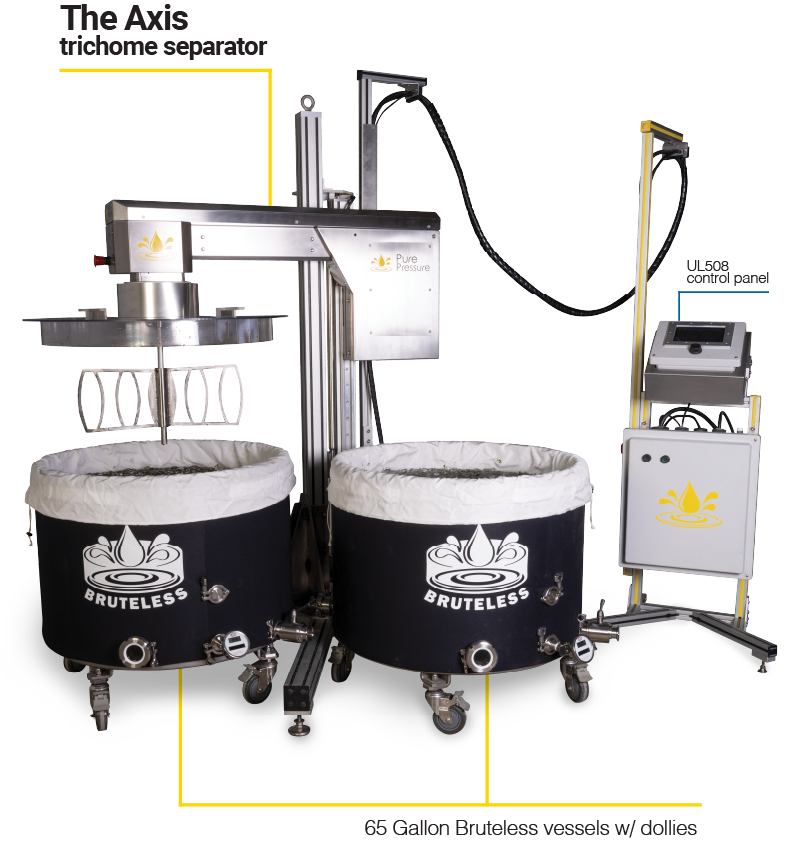 PurePressure Axis Trichome Separator with 65 Gallon Bruteless Vessel Set Up