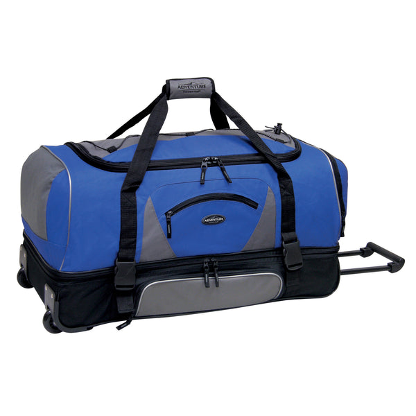 "Travelers Club Adventure 30"" 2-Section Drop-Bottom Rolling Duffel"